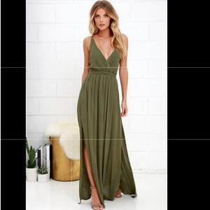 NEW - LULUS - Lost in Paradise olive maxi dress